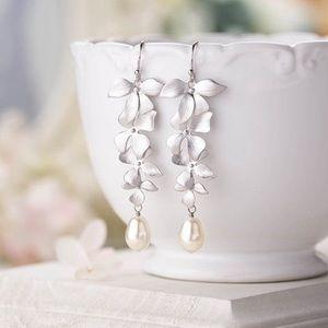 NEW! Handmade Silver Orchid Drop Pearl Earrings